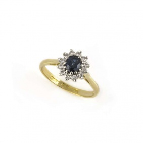 18k Yellow Gold Sapphire and Diamond Cluster Ring
